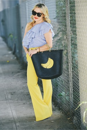 black straw tote san diego hat co bag - yellow wide leg Couture Couture pants