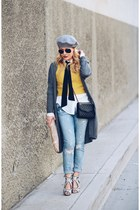 gray long cardigan Joe Fresh sweater - light blue boyfriend Wildfox jeans