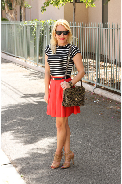 salmon skater skirt Parker skirt - black crop top vintage top