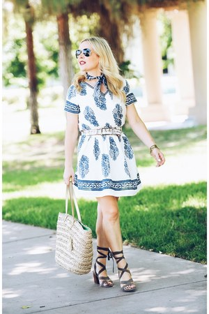 blue boho GoodNight Macaroon dress - light brown lace-up Sole Society sandals