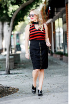 burnt orange striped RedHaute Clothing top - black zippered XCVI skirt