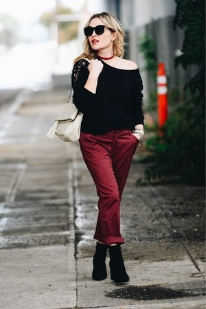 black lace shoulder Threads For Thought top - brick red chinos Lee Jeans pants