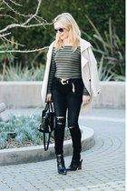 off white Jenabelle sweater - black ripped AG Jeans jeans