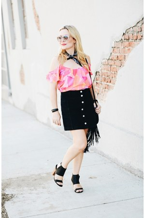 black button down zaful skirt - bubble gum cold shoulder Cuddy Studios top