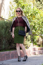 olive green pencil skirt Givenchy skirt - brown bomber Topshop jacket