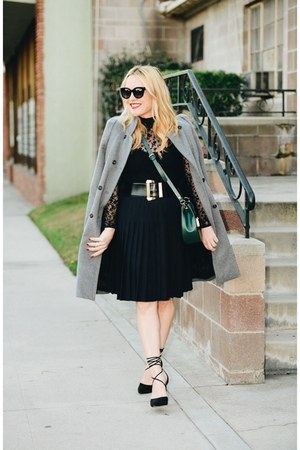 gray Zara coat - green cross body Zara bag - black pleated Club Monaco skirt