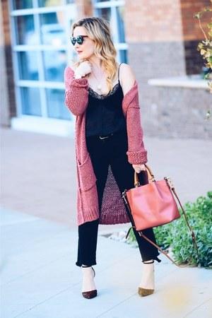 salmon long cardigan free people sweater - black camisole Zara top