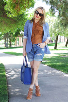 blue denim shorts abercrombie and fitch shorts - sky blue Aqua blazer