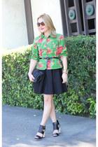 green floral print Kenzo jacket - black full skirt for elyse dress