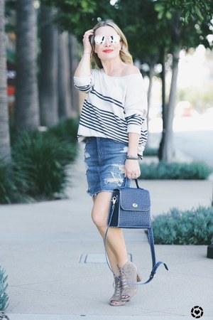 cream striped Repeat Cashmere top - blue denim Genetic Denim skirt