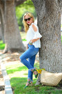 Blue-frayed-mango-jeans-white-cold-shoulder-zaful-top