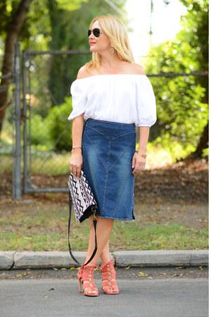 white off shoulder Loft top - blue denim vintage skirt