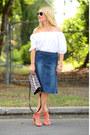 White-off-shoulder-loft-top-blue-denim-vintage-skirt