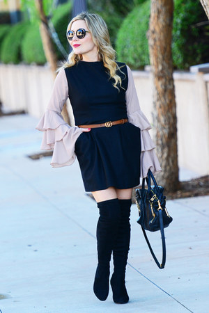 camel ruffle sleeves asos top - black sheath vintage dress