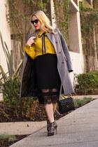 black pencil Topshop skirt - heather gray winter Zara coat