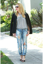 blue boyfriend Zara jeans - black tailored Elie Tahari blazer