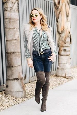 navy striped Zara top - silver faux fur MinkPink vest - blue gold Gucci belt