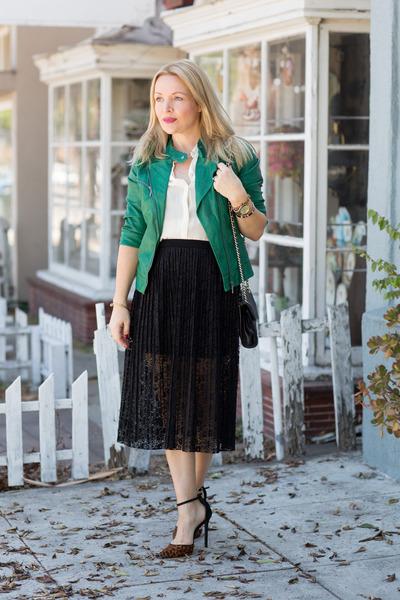 black lace asos skirt - green vegan leather Zara jacket - ivory silk H&M blouse