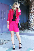 hot pink fushia H&M blazer - black cross body Rebecca Minkoff bag