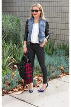 blue denim Levis vest - black skinny jeans Old Navy jeans - black DKNY jacket
