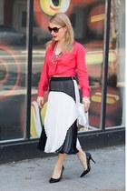 red silk madewell shirt - white studded clutch Rebecca Minkoff bag