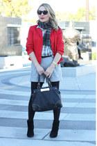 red tailored Tara Jarmon blazer - charcoal gray plaid Rhyme shirt