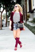 crimson suede Pour La Victoire boots - sky blue denim Zara shorts