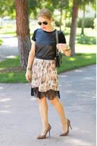 nude floral asos skirt - black cross body Rebecca Minkoff bag