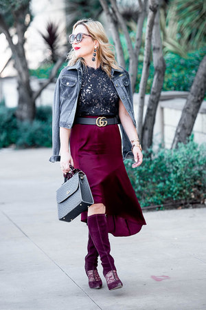 blue denim Wrangler jacket - maroon asymmetrical banana republic skirt