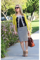 yellow APC cardigan - black camisole vintage top - ivory striped BB Dakota skirt