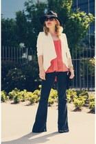 orange tank top bobi top - navy wide leg Theory jeans