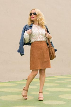 blue denim Levis jacket - white lace Zara top - burnt orange suede APC skirt