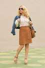 Blue-denim-levis-jacket-white-lace-zara-top-burnt-orange-suede-apc-skirt