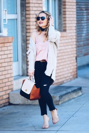 cream cardigan asos sweater - black skinny vince jeans