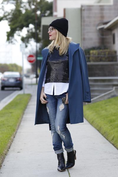 black sequin Joa top - gray trench claude montana coat