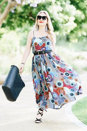 black straw tote san diego hat co bag - sky blue print VIPme dress