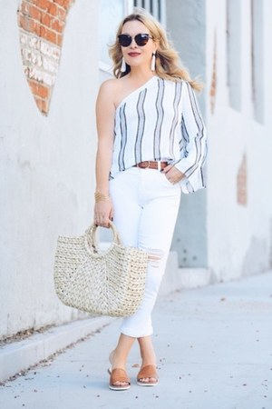 white white denim Sanctuary jeans - white one shoulder Renamed top
