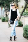 Light-blue-distressed-cello-jeans-black-quilted-stella-mccartney-bag