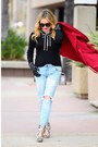 Ruby-red-trench-sheinside-coat-light-blue-distressed-sts-denim-jeans