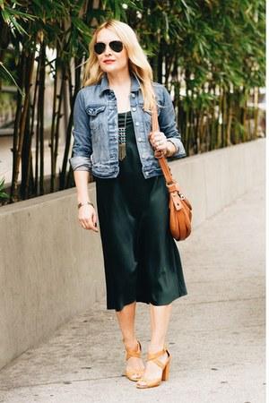brown saddle bag Marc by Marc Jacobs bag - forest green slipdress vintage dress