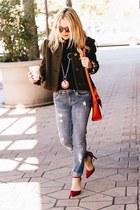 sky blue distressed Zara jeans - black turtleneck Ralph Lauren sweater