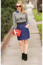 heather gray crewneck unknown brand sweater - blue button down Splendid shirt