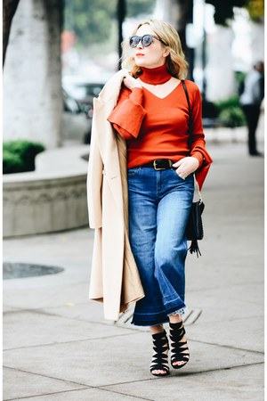 ruby red bell sleeve StyleWe sweater - blue culottes Express jeans