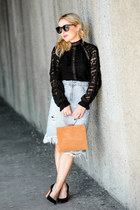black lace XCVI top - tawny ring handle Thacker NYC bag - blue denim Zara skirt