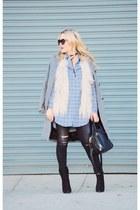 light blue chambray GoodRow shirt - charcoal gray Zara coat