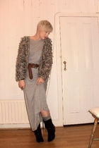 Topshop cardigan - new look dress - Oasis belt - Topshop socks - Topshop boots