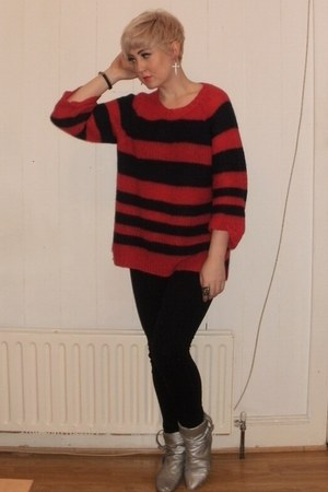 Topshop jumper - old boots - Topshop jeans - Urban Outfitters earrings
