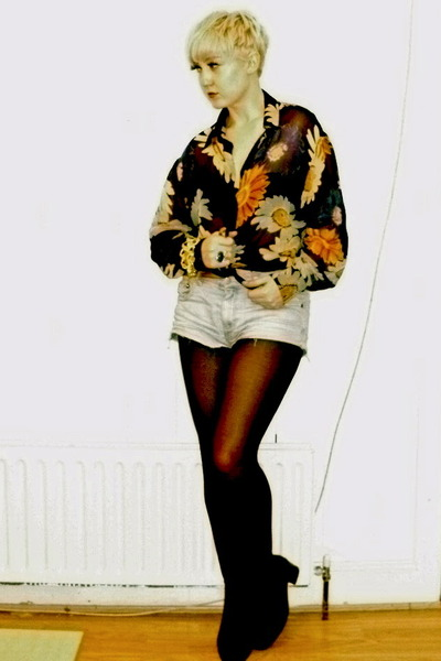 Dorothy Perkins blouse - vintage boots - Topshop shorts