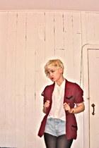 vintage jacket - topshop shorts - vintage blouse