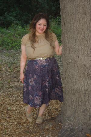 nude Steve Madden shoes - tan Ross shirt - deep purple thrifted skirt - gold thr